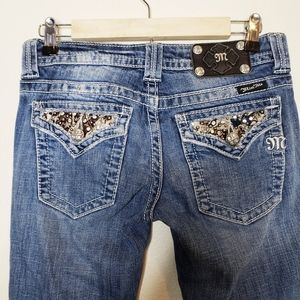 Miss Me Rhinestone & Star Studded Bootcut Jeans